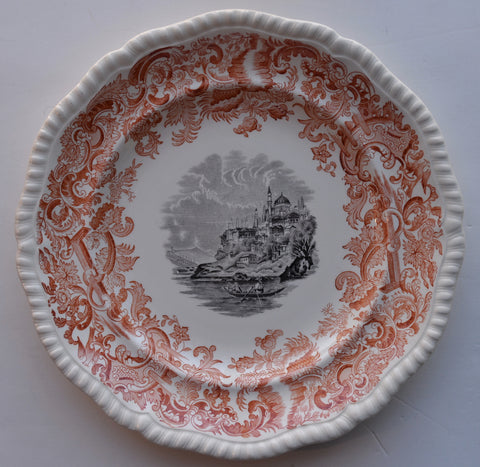 Rust Red & Black Spode Copeland 2 Color Transferware Plate Beverley European Sailing Scenery