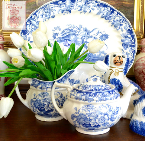 Vintage Blue & White English Teapot Royal Doulton Pomeroy w/ Roses Tulips