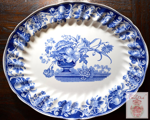 "17"" HUGE Vintage Blue Transferware serving Platter Royal Doulton Pomeroy Urn w/ Roses Tulips on Brick Wall"