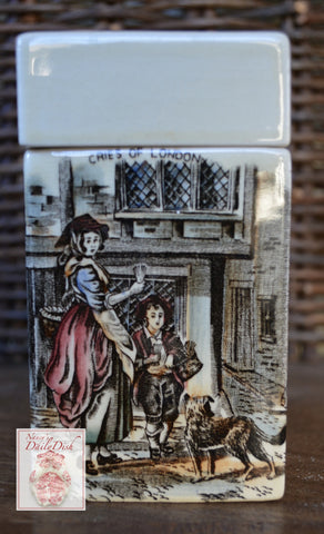 Brown Polychrome Transferware Tea Caddy Cries of London Wheelbarrow Dog Lidded Jar