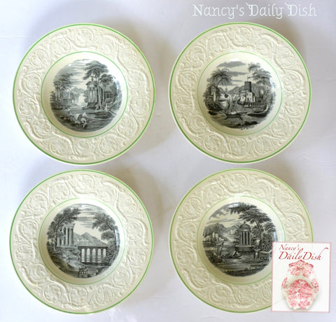 Set of 4 Different Italian Fishing & Lake Scenes Antique Wedgwood Black Transferware Plates Embossed Floral Border