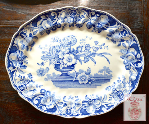 "13"" Vintage Blue Transferware serving Platter Royal Doulton Pomeroy Urn w/ Roses Tulips on Brick Wall"