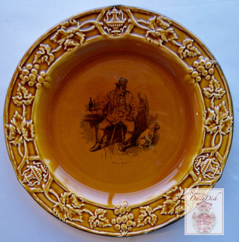 Vintage Black Transfeware Plate Charles Dickens Bill Sikes Honey Amber Finish & Embossed