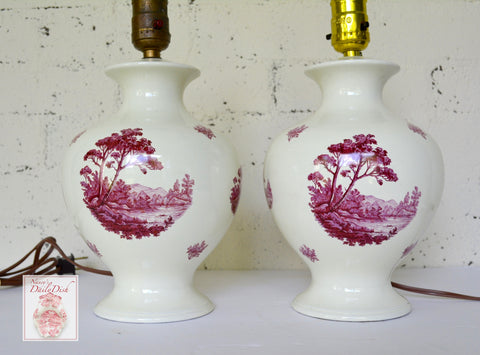 PAIR Antique Transferware Lamps River Trees & Mountains Wired & Work - Purple Pinkish