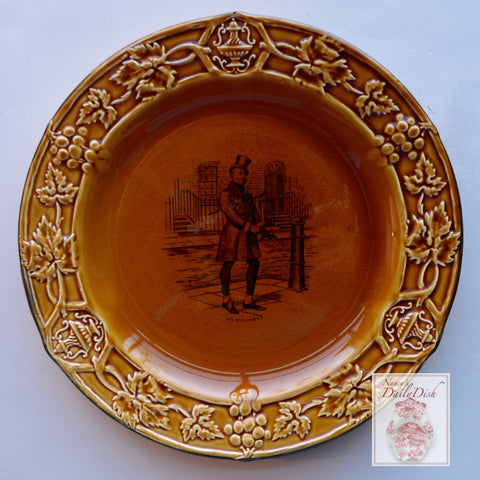 Amber Glazed Black Transfeware Plate Mr. Micawber Charles Dickens  Embossed