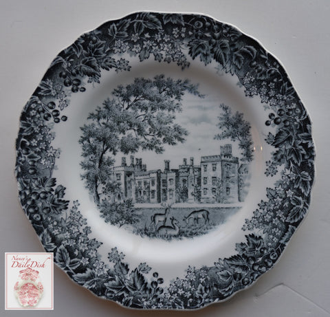 Scenic Black Toile Transferware Square Plate Romantic England Grazing Deer English Castle