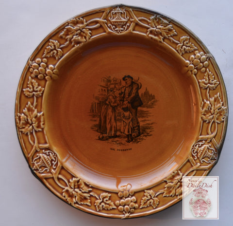 Vintage Black Transfeware Plate Charles Dickens David Copperfield Mr. Pegotty Amber Glazed & Embossed