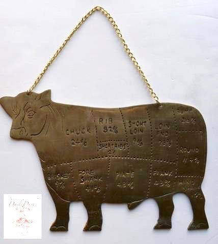Vintage Butcher Shop Solid Brass Cow Plaque Sign with Meat Cuts Farmhouse Kitchen