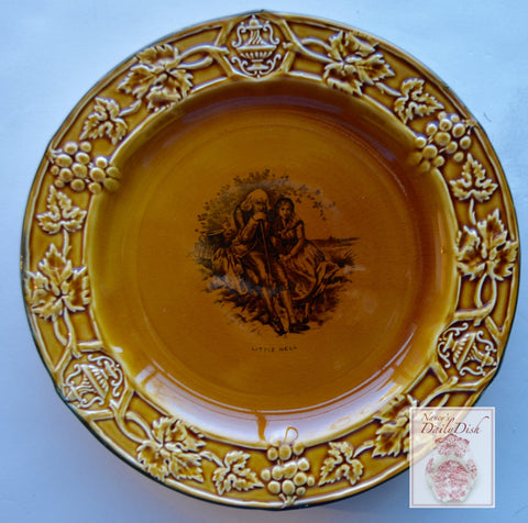 Amber Glazed Black Transfeware Plate Little Nell Charles Dickens The Old Curiosity Shop  Embossed