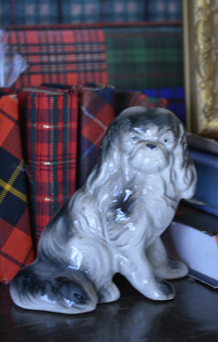 Gray / Black Occupied Japan Pekingese Dog Figurine  - English Country Decor