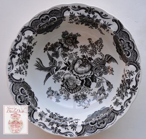 Vintage Black Toile English Transferware Serving Vegetable Bowl Birds Pheasants Flowers Butterfly Roses