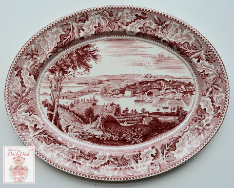 Historic America Red Transferware Platter Acorns Oak Leaves View of Washington D.C.