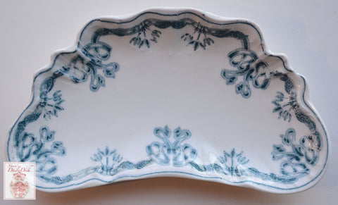 Antique Teal Transferware Crescent Bone Dish - Ribbons & Scrolls