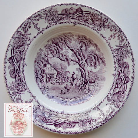 Purple Transferware Soup Salad Bowl Rural Scenes Ducks Stream Horses Tavern