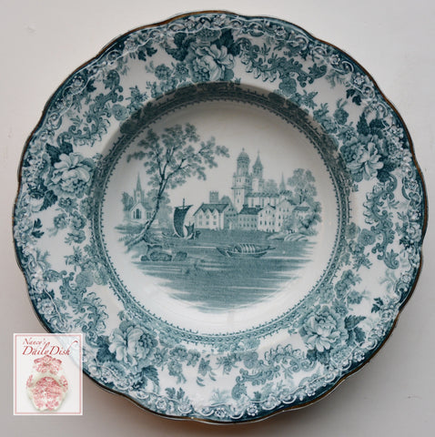 "Ca 1891 Teal English Transferware 8"" Rimmed Bowl  Roses Boats Church Togo"