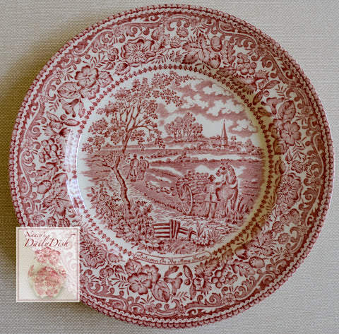 Red Transferware  Ironstone Plate Horse Pulling Cart on Farm English / French  Farming Scenery