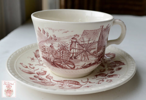 Red Transferware Ironstone Tea Cup & Saucer Farmhouse Old English Crafts Wheel Making