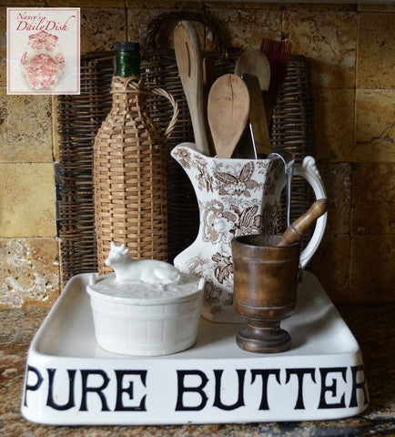 Advertising Transferware Grocers Display English PURE BUTTER Dairy Slab London Dairy Supply Co