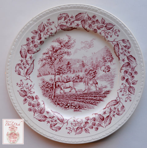 Vintage Red Transferware Plate English Farm Horse & Plough Scene w/ Blackberry Border