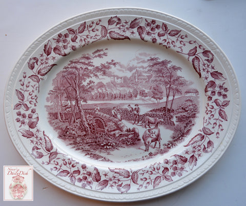 large Vintage Red Transferware Platter w/ Cows & Dry Stone Walling w/ Blackberry Border