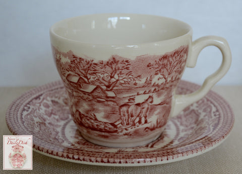 Red Transferware Ironstone Tea Cup & Saucer Farmhouse Horses Pulling Logs for Winter on Farm / Farming Scenery