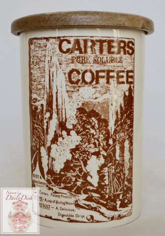 Vintage Advertising Carters Pure Soluble Coffee London English Ironstone Lidded Kitchen Canister Utensil Holder Jar Brown Print