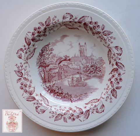 Vintage Red Transferware Shallow Bowl / Deep Plate  English Equestrian Scene Hurdle Making