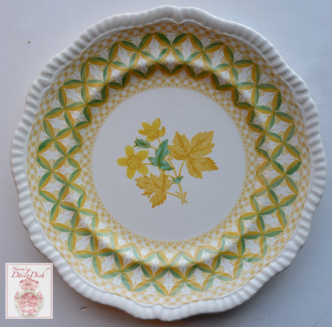 Yellow Transferware Plate Spode Copeland Lattice and Geraniums Flowers