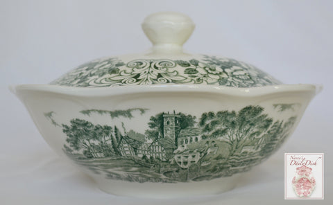 Green Transferware Covered Dish Tureen Travelers Horses Children Roses English China