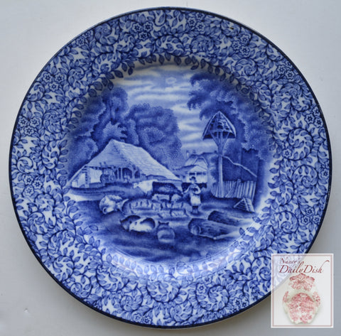 Vintage Blue English Transferware Plate Girl Feeding Farm Animals Pigs Chickens Cows Chintz Border