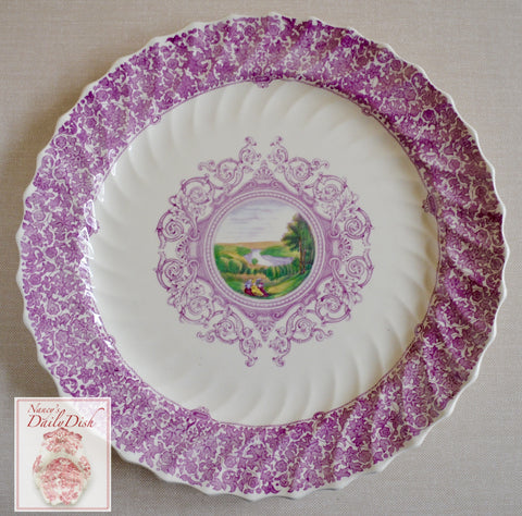 RARE Huge Copeland Spode Lilac Lavender Transferware Platter Scenic River & Landscape with Exquisite Detail French Cottage Decor