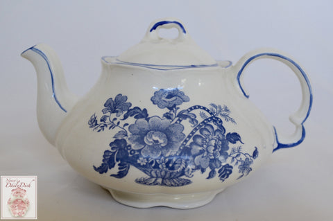 Vintage English Cottage Style Individual or Childs Teapot Charlotte Blue Toile Ironstone Basket of Roses