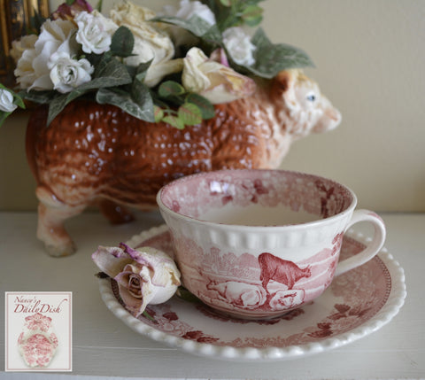 Farmhouse Scenery Grazing Sheep &  Cows / Cattle Red Transferware Cup and Saucer