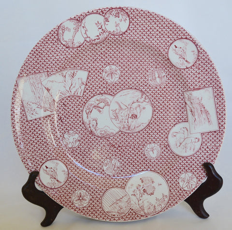 Aesthetic Movement Style Masons England Red Transferware Chinoiserie Plate Asian Oriental Motif