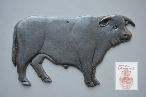 Vintage Butcher Shop Silver Metal Pewter Cow Plaque Sign French Country Farmhouse Kitchen