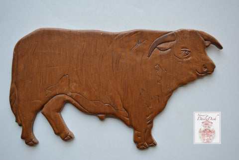 Vintage Carved Wooden Wood Cow / Bovine / Bull Wall Plaque Sign Farmhouse Decor