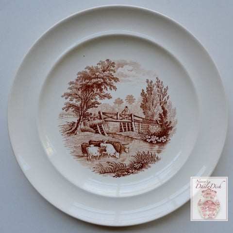 Antique Brown Transferware Plate Spode Copeland Rural Scenes w/ Cows Grazing in Stream