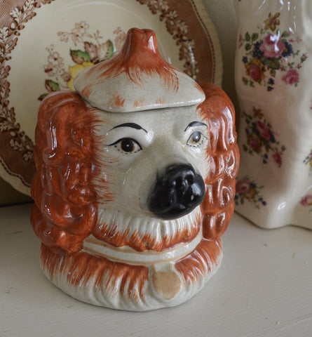 Staffordshire Spaniel Dog Head Jar Canister Figurine  - English Country Decor