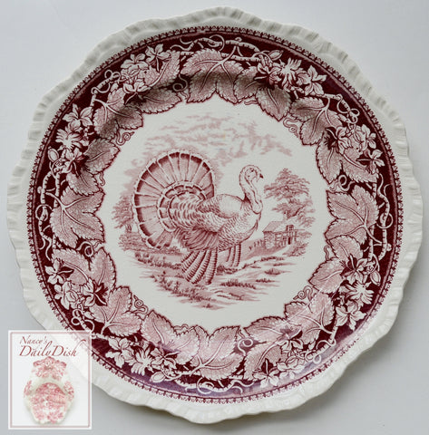 Mason's Vista Red Transferware Turkey Plate Staffordshire China Thanksgiving Oak Leaves Ivy Border