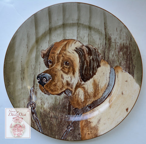 Antique Aesthetic Brown English Transferware Mastif Portrait Dog Plate Hand Painted & Signed