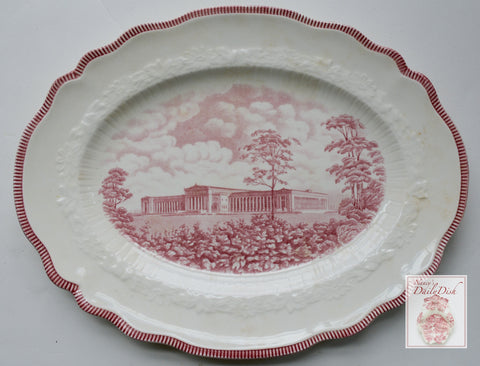 Historical Red Transferware Platter - A Century of Progress Worlds Fair