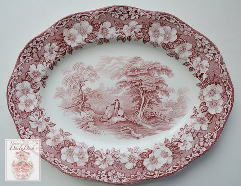 Vintage Red Transferware Platter Wedgwood Gathering Hay Plentiful Harvest Roses Pastoral Farm