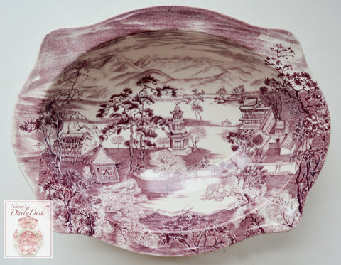 Chinoiserie Purple Serving Vegetable Bowl Enchanted Garden Pagoda Alpine Scenery