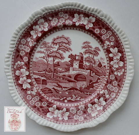Vintage  Red Transferware Luncheon Plate Spode Copeland Tower Bridge Birds Farmhouse Style Cottage Kitchen