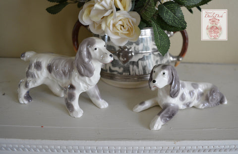 Pair of Gray & White  English Setter Dog Figurines - English Country Decor