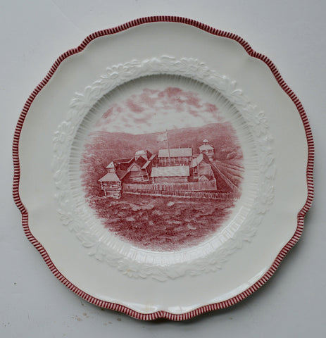 Historical Red Transferware Plate - The First Fort at Dearborn - A Century of Progress Worlds Fair
