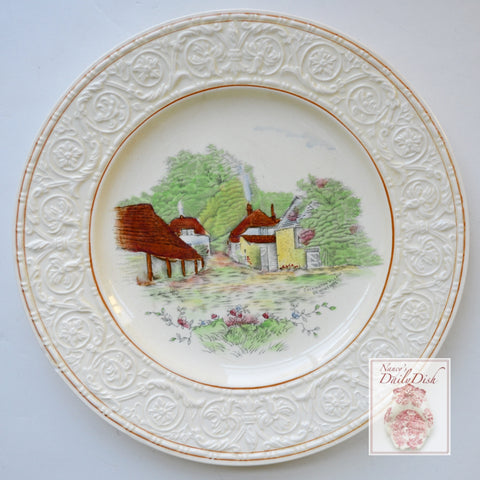 Hand Painted  Transferware Plate Rural English Cottages Cockington Forge Torquay
