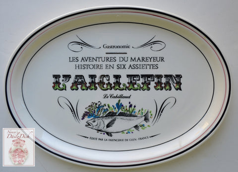 French Advertising Black Transferware Fish Platter L'Aiglefin Le Cabillaud Gastronomie