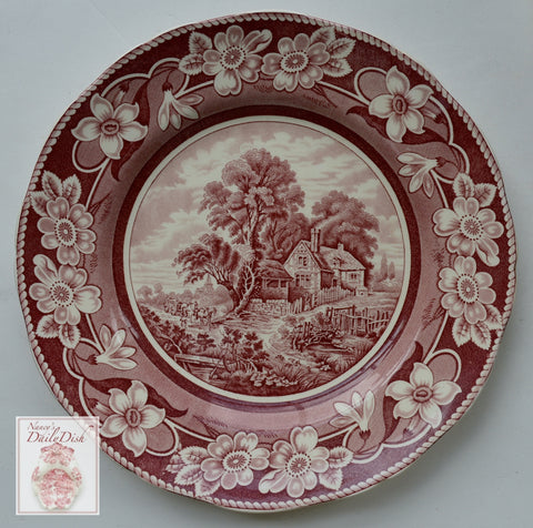 Red English Transferware Plate Coalport Pastoral Pastoral Tudor Farmhouse Cottage Stream Flowers
