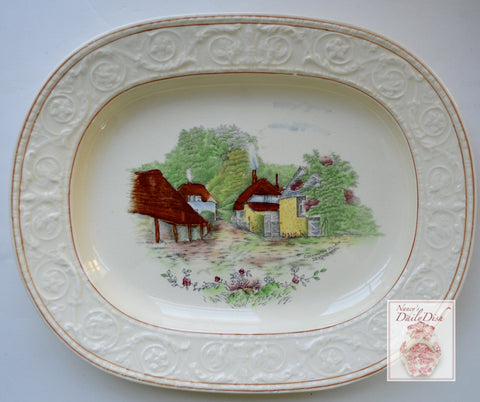Hand Painted Polychrome Transferware Platter Rural England Cockington Forge Torquay Village Cottages